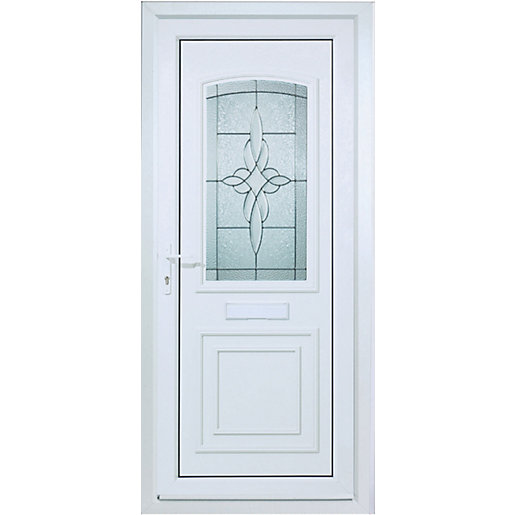 Wickes medway pre hung upvc door 2085 x 920mm right hand for Upvc glass front doors