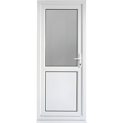 Wickes tamar pre hung upvc door 2085 x 840mm left hung for Back door with window that opens