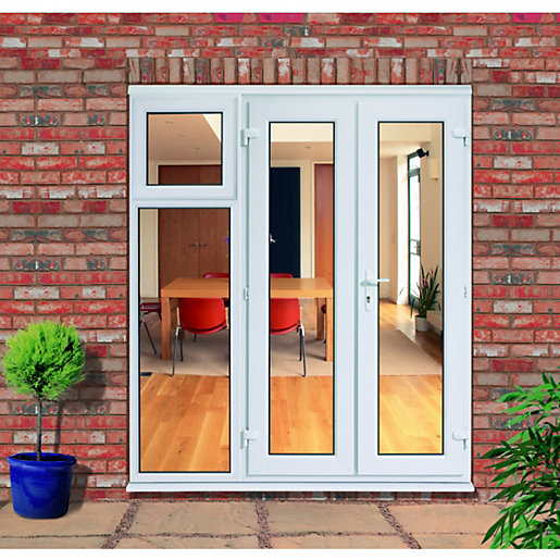 huge discount ba90c 6ed8e uPVC French Doors Outwards Opening with 600mm Side Sash Panel