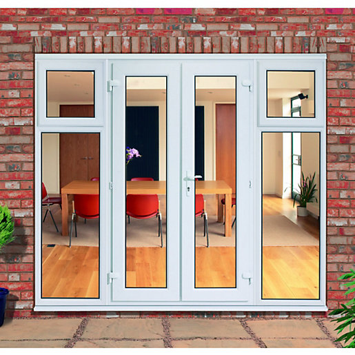 UPVC French Doors Outwards Opening With 2 Side Sash Panels 600mm
