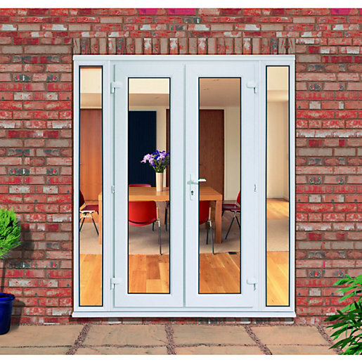 uPVC French Doors Outwards Opening with 2x 300mm Side Panels ... on