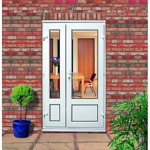Upvc offset panelled french door outwards opening wickes for Upvc french doors inward opening