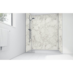White Calacatta Laminte 3 Sided Shower Panel Kit - 1200 x 900mm