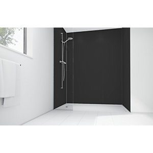 Wickes Black Matte Acrylic 3 Sided Shower Panel Kit - 1200 x 900mm