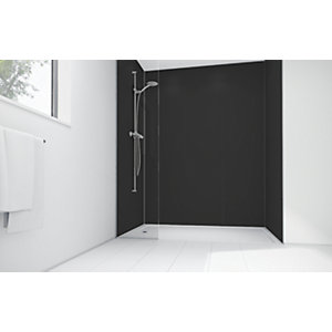 Wickes Black Matte Acrylic 3 Sided Shower Panel Kit - 1700 x 900mm