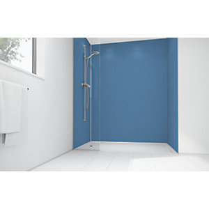 Wickes Blue Lagoon Matte Acrylic 3 Sided Shower Panel Kit - 1200 x 900mm