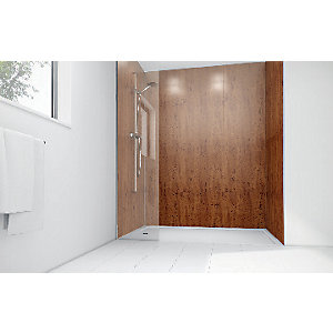 Wickes Brass Laminate 3 Sided Shower Panel Kit - 900 x 900mm