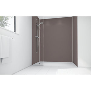 Wickes Coffee Matte Acrylic 3 Sided Shower Panel Kit - 1200 x 900mm
