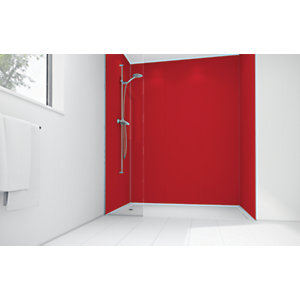 Wickes Crimson Matte Acrylic 3 Sided Shower Panel Kit - 1200 x 900mm
