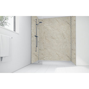 Wickes Grey Calacatta Laminate 3 Sided Shower Panel Kit - 1200 x 900mm