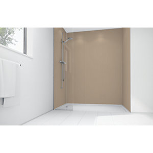Wickes Latte Matte Acrylic 3 Sided Shower Panel Kit - 1200 x 900mm