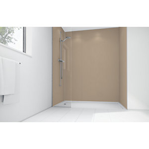 Wickes Latte Matte Acrylic 3 Sided Shower Panel Kit - 900 x 900mm