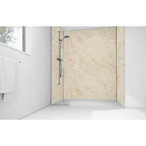 Wickes Natural Calacatta Laminate 3 Sided Shower Panel Kit - 1200 x 900mm