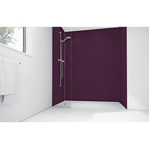 Wickes Plum Matte Acrylic 3 Sided Shower Panel Kit - 1200 x 900mm