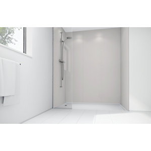 Wickes Sugar Matte Acrylic 3 Sided Shower Panel Kit - 1700 x 900mm