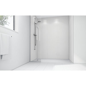Wickes White Matte Acrylic 3 Sided Shower Panel Kit - 1700 x 900mm