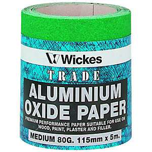 Wickes Aluminium Oxide Medium Sandpaper Roll - 5m