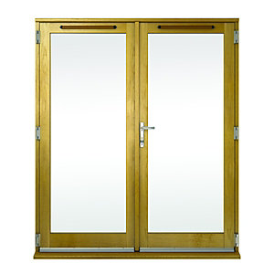 Albery Pattern 10 Bar Solid Oak Laminate French Door Outwards Opening