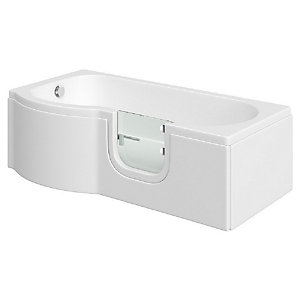 Wickes Concert P Shaped Left Hand Easy Access Bath - 1675 x 850mm