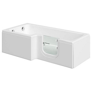 Wickes Solarna L Shaped Left Hand Easy Access Bath - 1700 x 850mm