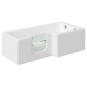 Wickes Solarna L Shaped Right Hand Easy Access Bath - 1700 x 850mm