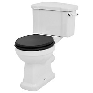 Wickes Oxford Traditional Close Coupled Toilet Pan, Cistern & Black Soft Close Seat