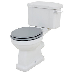 Wickes Oxford Traditional Close Coupled Toilet Pan, Cistern & Grey Soft Close Seat