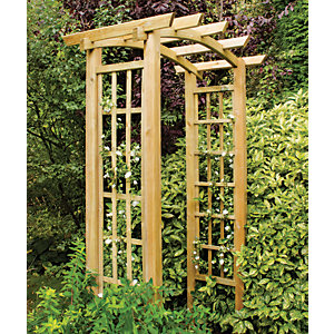 Forest Garden Ryeford Wooden Curved Trellis Garden Arch - 1340 x 800 mm