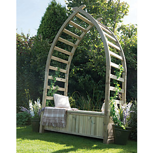 Forest Garden Whitby Gothic Slatted Garden Arbour with Storage Seat - 1540 x 760 mm