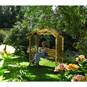 Rowlinson Dartmouth Trellis Swing Garden Arbour - 2235 x 1090 mm