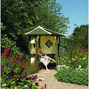 Rowlinson Haven Slatted Corner Garden Arbour - 2550 x 1730 mm