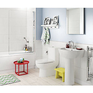 Avalon Bathroom Package - Toilet, Basin, Bath & Screen