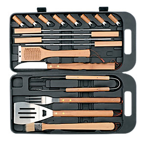 Landmann 18 Piece Bamboo Steel Tool Set in     Case