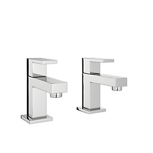 Wickes Kubic Basin Taps - Chrome