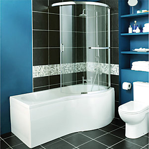 Wickes Two Panel Sliding Shower Bath Screen Right Hand