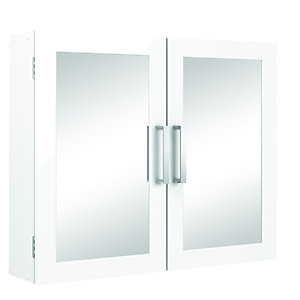 Wickes Double Mirror Bathroom Cabinet - White 600mm