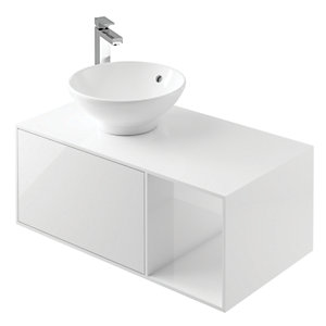 Wickes Eli White Gloss Wall Hung Unit - 900 mm