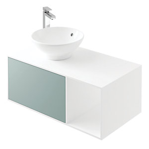 Wickes Eli White Matt & Fjord Wall Hung Unit - 900 mm