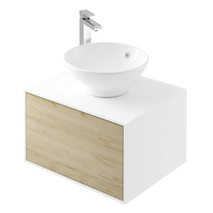 Wickes Eli White Matt & Oak Wall Hung Unit - 600 mm