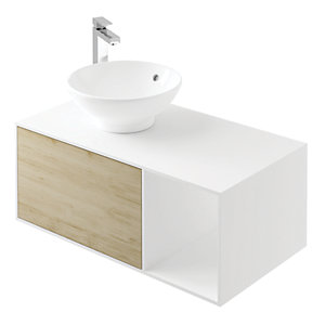 Wickes Eli White Matt & Oak Wall Hung Unit - 900 mm