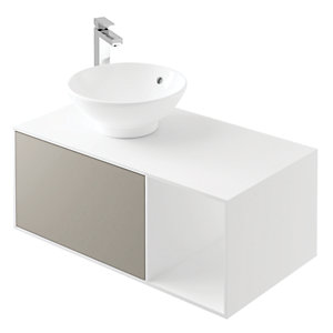Wickes Eli White Matt & Stone Grey Wall Hung Unit - 900 mm