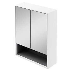 Wickes Eli White Matt Wall Hung Mirror Storage Unit - 600 mm