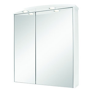 Wickes Illuminated Double Bathroom Mirror Cabinet - White 600mm