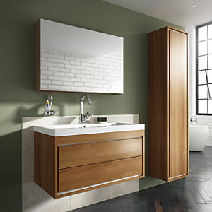 Wickes Novellara Walnut Wall Hung Mirror Storage Unit - 600 mm | Wickes.co.uk