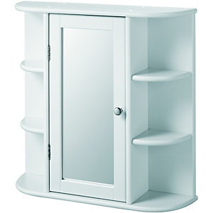 Wickes Single Mirror Bathroom Cabinet with 6 Shelves - White 580mm | Wickes.co.uk