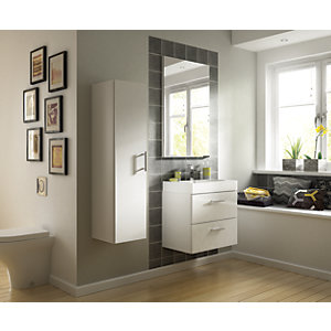 Wickes Talana White Gloss Floor Standing Vanity Unit with Doors - 600mm