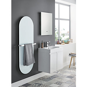Wickes Talana White Gloss Wall Hung J- Pull Compact Vanity Unit - 400 mm