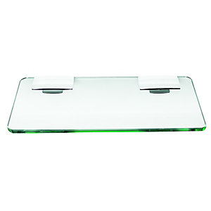 Wickes Rectangular Glass Shelf - Chrome 300mm