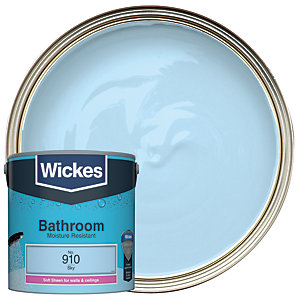 Wickes Bathroom Soft Sheen Emulsion Paint - No. 910 Sky 2.5L