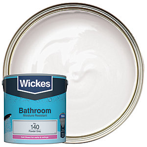 Wickes Powder Grey - No. 140 Bathroom Soft Sheen Emulsion Paint - 2.5L
